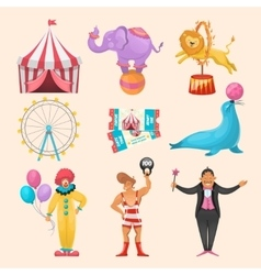 Circus character elements set vector
