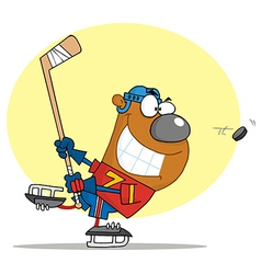 Sporty Bear Playing Ice Hockey vector image