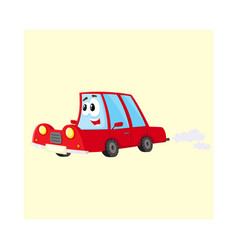 cute and funny red car auto character hurrying vector image