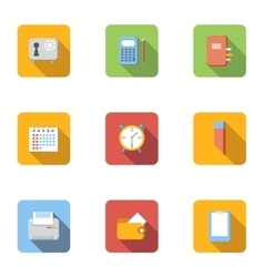 Office things icons set flat style vector