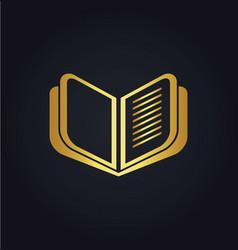 open book education gold logo vector image vector image