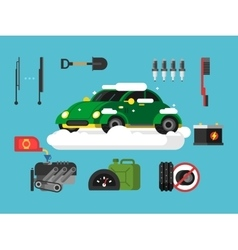 Preparing car to winter vector image vector image