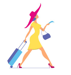 woman with baggage and ticket time to travel vector image
