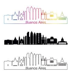 buenos aires v2 skyline linear style with rainbow vector image