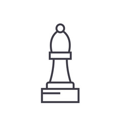 chess bishop line icon sign vector image