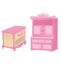 Curbstone and cupboard elegant furniture vector