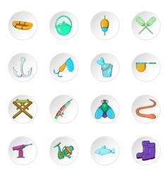 Fishing icons cartoon style vector image vector image