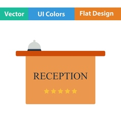 Flat design icon of reception desk vector image