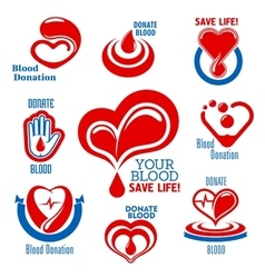 Hearts blood drops hand icons for medical design vector image vector image