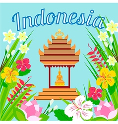 Indonesian pagoda with a statue of Buddha on a bac vector image