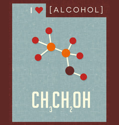 retro poster of alcohol molecule vector image
