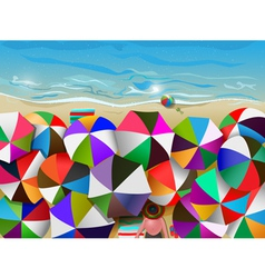 crowded beach vector image vector image