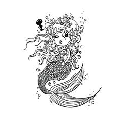 Doodle Mermaid Under the Sea Cartoon Character vector image