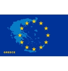 Flag of european union with greece on background vector