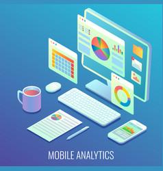 mobile web analytics concept flat isometric vector image