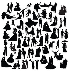 set of wedding silhouettes vector image vector image