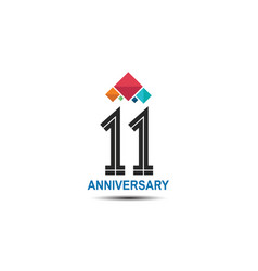 11 anniversary logotype with colorful crown vector