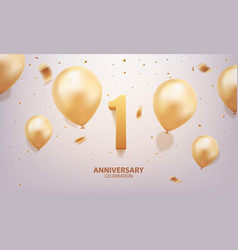 1st year anniversary background vector image