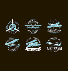 Aircraft airplane logo or label airline symbol vector