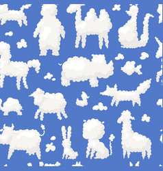 animal clouds white silhouette sweet dreams kid vector image