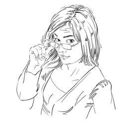 Art drawing portrait gorgeous girl vector
