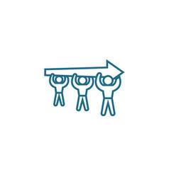 Aspiration for a common goal linear icon concept vector