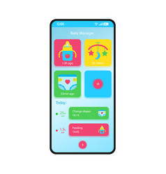Baby manager smartphone interface template vector