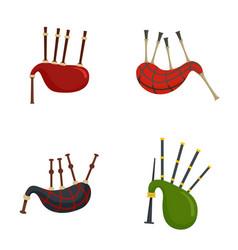 bagpipes scotland scottish icons set flat style vector image