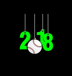 Baseballl and 2018 hanging on strings vector