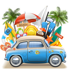 beach concept with blue car vector image
