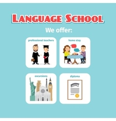 Benefits abroad language school studying vector
