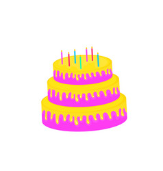 birthday cake sweet food dessert isolated on vector image