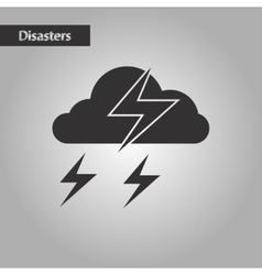 Black and white style lightning cloud vector