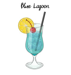 Blue lagoon cocktail with lemon decorations vector