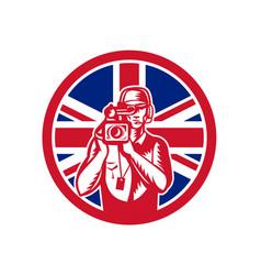 british cameraman union jack flag icon vector image