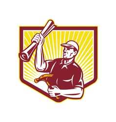 Builder Carpenter Hold Hammer Building Plan Retro vector image
