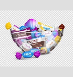candies bowl realistic transparent vector image