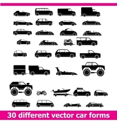 Cars icons set 30 different car forms vector