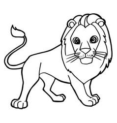 Cartoon cute lion coloring page vector