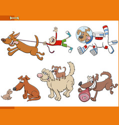 Cartoon dogs and puppies animal characters set vector