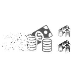 cash broken pixel halftone icon vector image