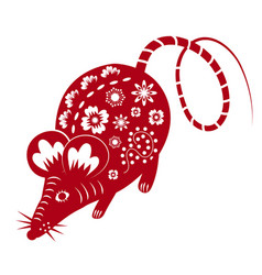 Chinese mouse in traditional paper cut style vector
