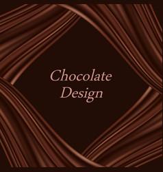 Chocolate wavy background dark brown choco frame vector