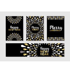 Christmas and new year set of gold card designs vector