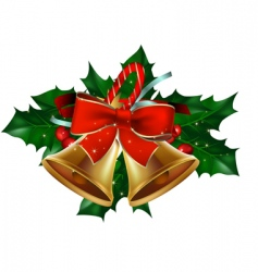 Christmas bells holly berry vector image