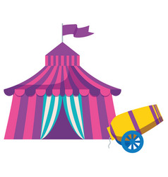 Circus tent with canon vector
