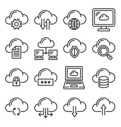 cloud computing network icons set line style vector image