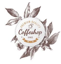 Coffeshop paper emblem vector