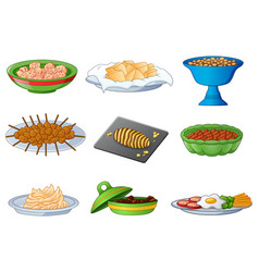 Collection of traditional dinner meals vector