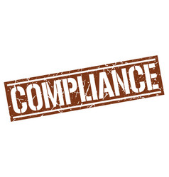 Compliance square grunge stamp vector